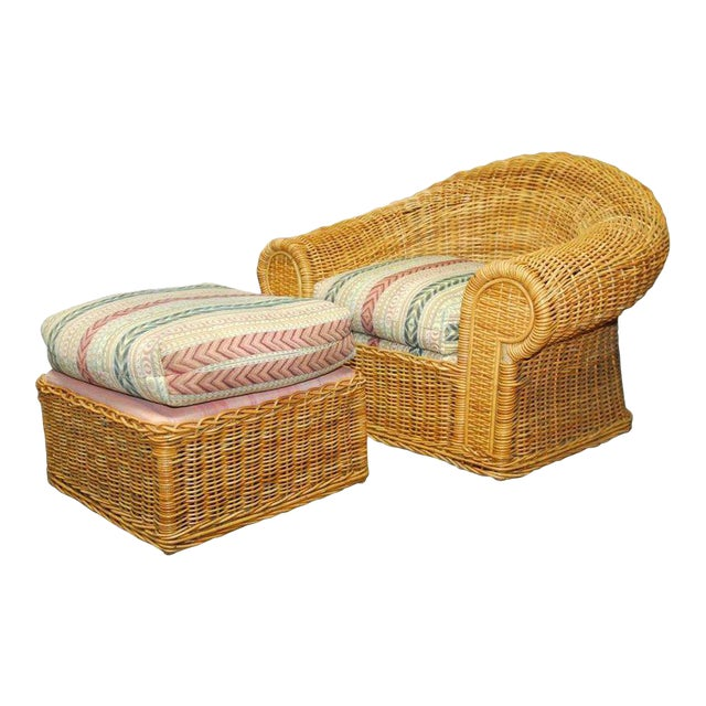 Michael Taylor Inspired Wicker Lounge Chair and Ottoman - Image 1 of 11