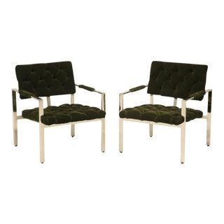 Circa 1970 Milo Baughman Chrome & Mohair Armchairs - A Pair