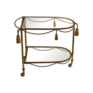 Gilt Faux-Rope and Tassel Bar Cart