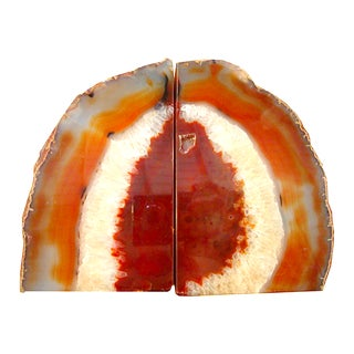 Large Rich Burnt Umber Crystal Agate Bookends