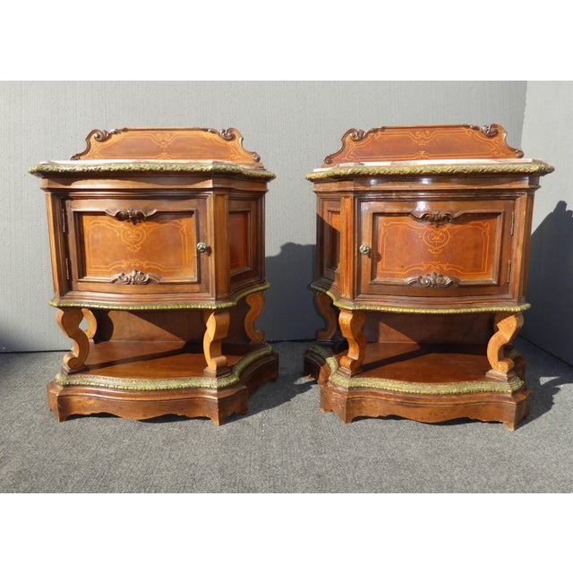 Antique White Marble Top Nightstands - A Pair - Image 5 of 11