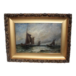 """Vintage """"Ships at Sea"""" Oil Painting by E.J. Packbauer"""