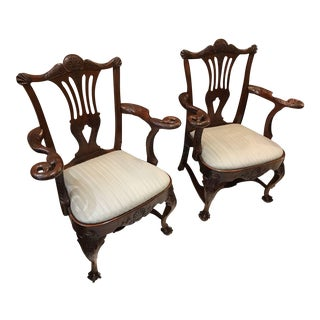 19th C. Antique English Chippendale Carved Walnut Chairs- A Pair