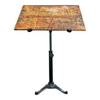 Vintage Industrial Cast Iron and Wood Tilt Top Artist, Drafting, Pedestal Table