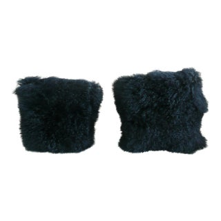 Black Genuine Mongolian Lamb Pillows - A Pair