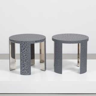 The Circular Crackle Side Tables by Talisman Bespoke (Charcoal and Silver)