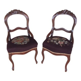 Victorian Needlepoint Chairs - A Pair