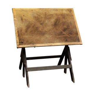 Antique Adjustable Wood Drafting Table