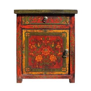 Chinese Vintage Tibetan Flower Cabinet