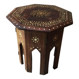 Carved Wood and Bone Inlay Stool
