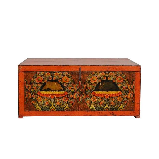Antique Tibetan Elm Wood Graphic Storage Trunk - Image 3 of 7