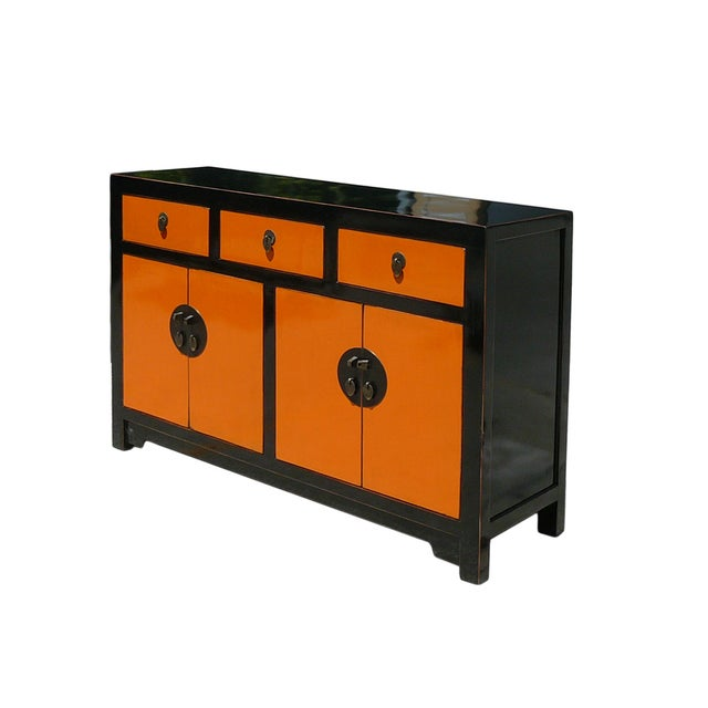 Orange black sideboard console chairish for Sideboard orange