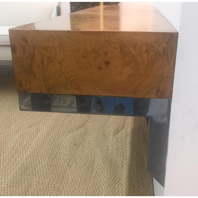 Mid-Century Burlwood Floating Console Table, Desk - Image 7 of 10