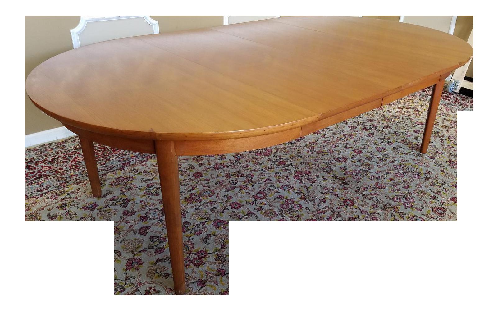 1950s Vintage Dynasty Furniture Danish Modern Style Light Walnut Dining  Room Table U0026 3 Leaves