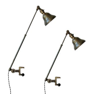 Industrial Brass Task Lamps - A Pair