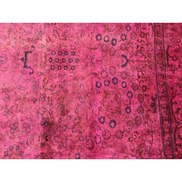Hot Pink Overdyed Runner Rug - Image 6 of 9