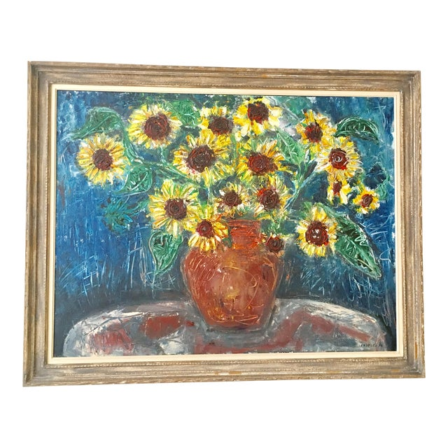 """Large """"Sunflower"""" Painting by Trieste - Image 1 of 6"""