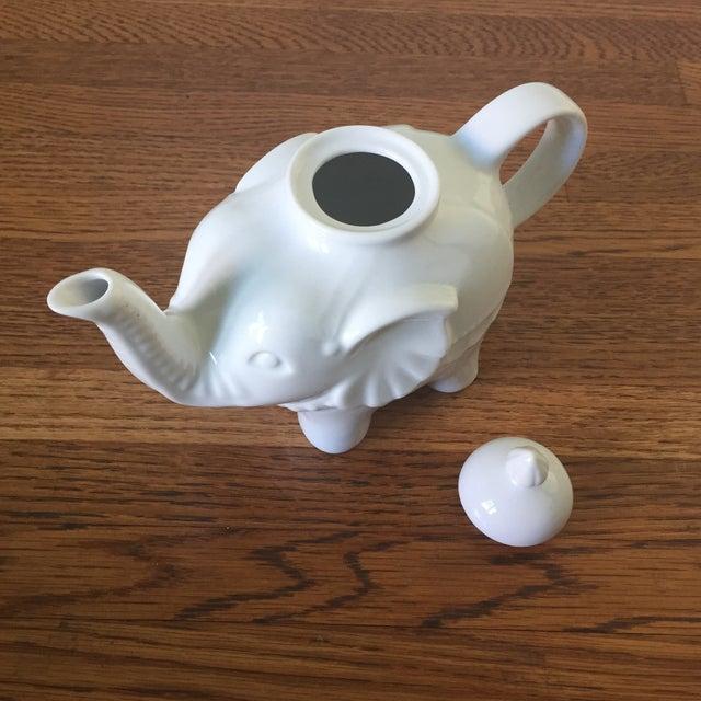 Image of White Ceramic Elephant Teapot