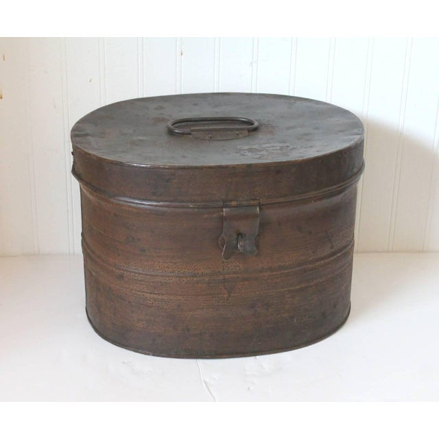 19th Century Original Brown Painted and Distressed Hat Box - Image 3 of 8