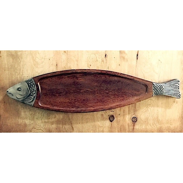Image of Vintage Wooden Fish Plate