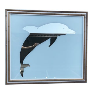 Large Mirror Dolphin/ Bamboo Framed