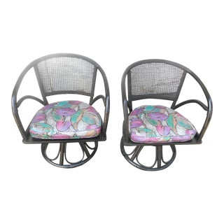Mid-Century Modern Rattan & Cane Back Swivel Chairs- A Pair