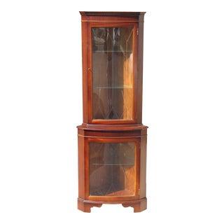 Mahogany Beveled Glass Corner Curio Cabinet