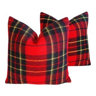 "24"" Custom Tailored English Plaid Wool & Velvet Feather/Down Pillows - a Pair"