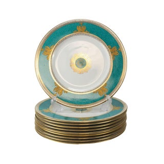 Wedgwood Porcelain Dinner Plates in Columbia Powder Turquoise - Set of 10