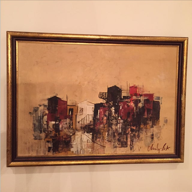 Image of Mid-Century City-Scape Painting
