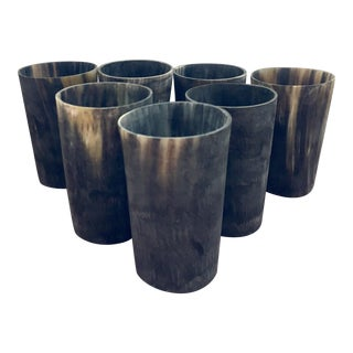 African Water Buffalo Horn Tumblers - Set of 7