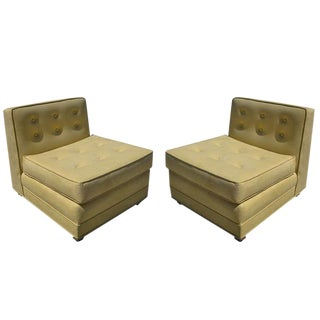 Mid-Century Modern Tufted Slipper Chairs, Pair