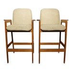 Image of Benny Linden Mid-Century Teak Barstools- A Pair