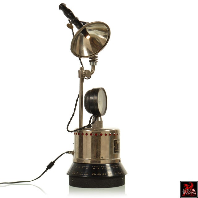 Industrial Table Lamp with LED Lighting and Clock - Image 5 of 10