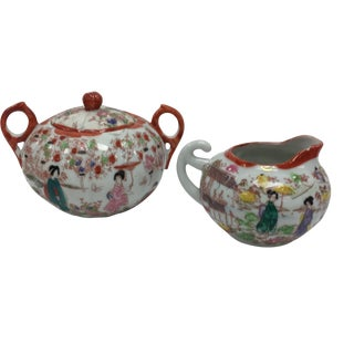 Japanese Chinoiserie-Style Sugar & Creamer Set