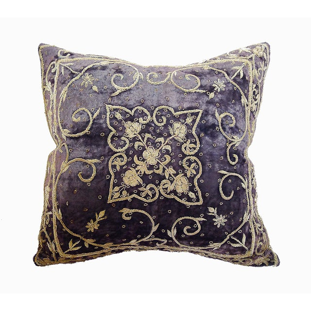 Embroidered Purple Velvet Pillow - Image 2 of 5