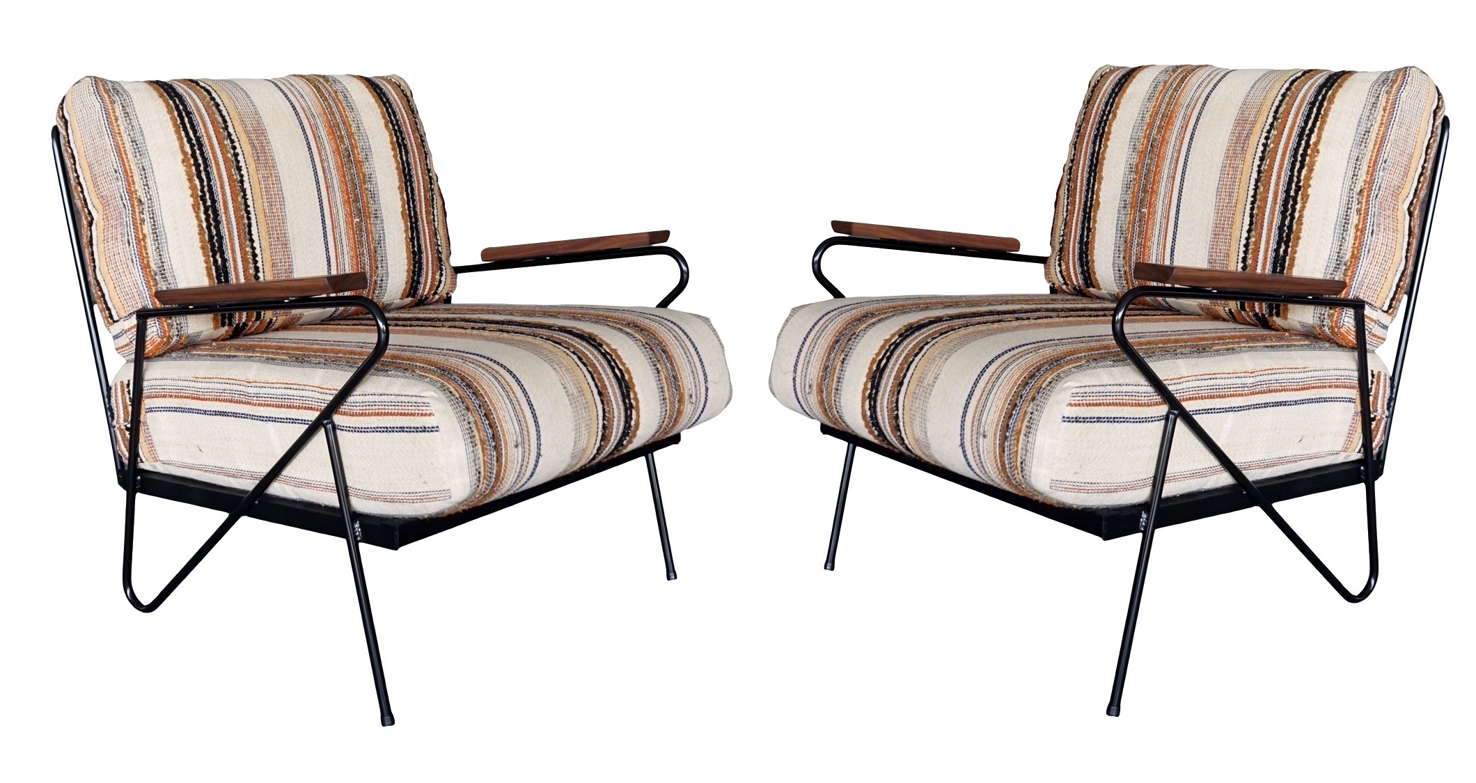Upholstered Iron Lounge Chairs Pair