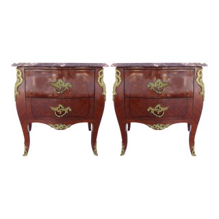 Bombe Commodes w/Gilt Bronze & Marble- A Pair
