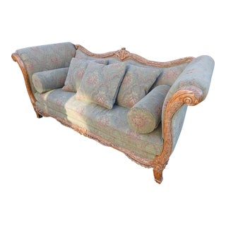 Walter E. Smithe Carved Wood Sofa