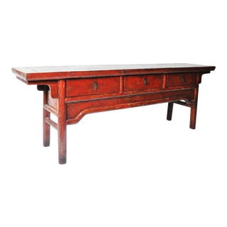 Chinese Red Lacquer Three-Drawer Coffer