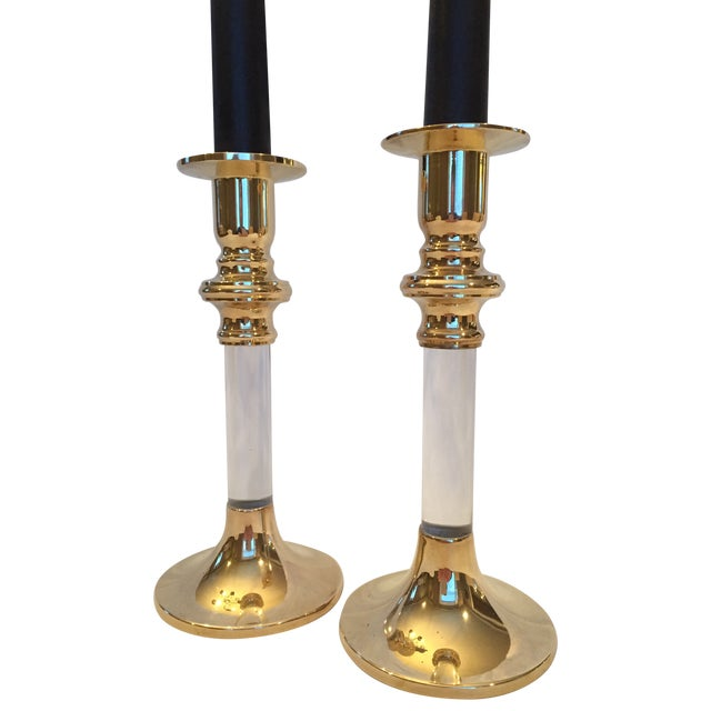Image of Vintage Brass And Lucite Candle Holders - Pair