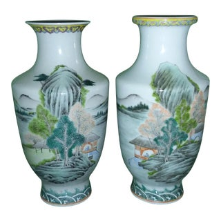 Vintage Asian Handpainted & Polychrome Vases - a Pair
