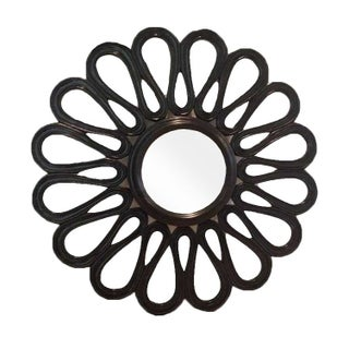 Black Round Lacquered Mirror