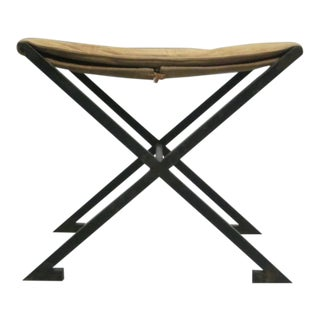 Pair of French X-Frame Stools in the Manner of Raymond Subes