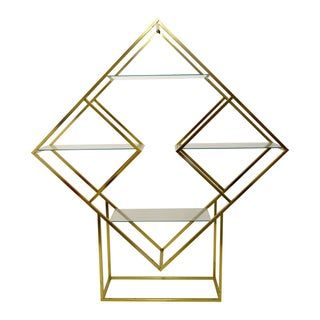 Baughman Style Brass Diamond Etagere Shelving