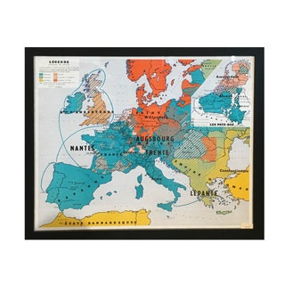 Vintage French Oversized Map with Colorful Stripes