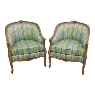 Thomasville Carved Walnut Barrel Back Lounge Chairs - A Pair