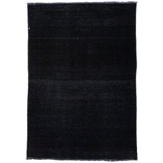 "Vintage Hand Knotted Modern Black Wool Area Rug - 3' 2"" X 4' 8"""