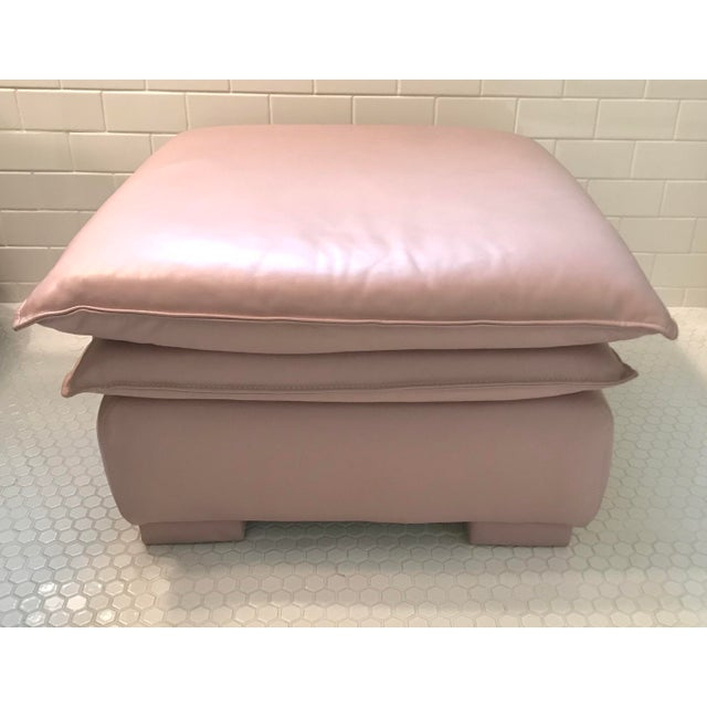 Lilac Leather Ottoman - Image 3 of 3