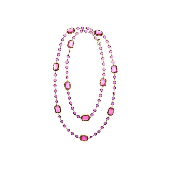 Image of Chanel Vintage Pink Chicklet Necklace